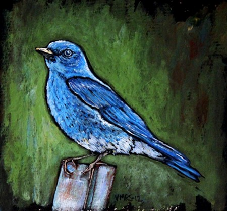 bluebird©Virginia Spencer, thepurpledogpaintingblog, 2012