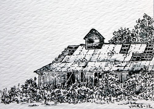 barn©Virginia Spencer, thepurpledogpaintingblog, 2012