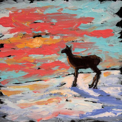 deersunset©Virginia Spencer, thepurpledogpaintingblog, 2013