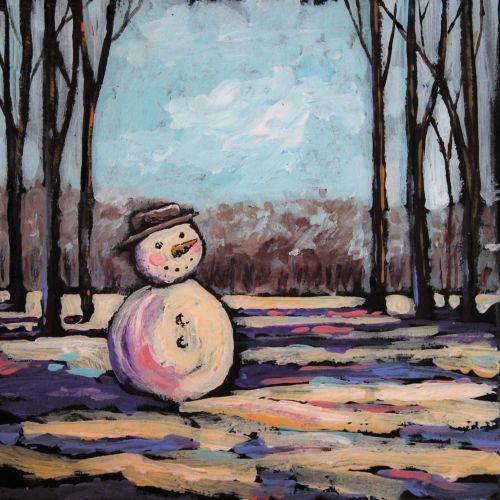 snowman©Virginia Spencer, thepurpledogpaintingblog, 2013