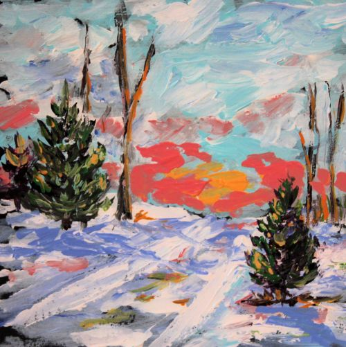 sunsettrees©Virginia Spencer, thepurpledogpaintingblog, 2013
