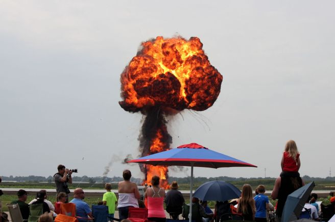 blowing up runway, airshow