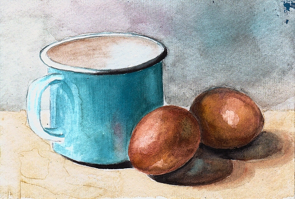 watercolor eggs painting