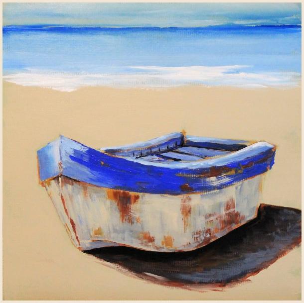 boat acrylic painting