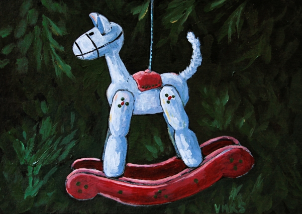 painting horse vintage ornament