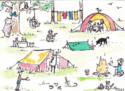 blog camping tents outside