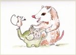 mouse possum watercolor art painting