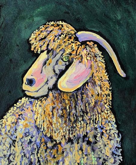 acrylic sheep animal colorful painting