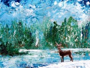 painting acrylic deer